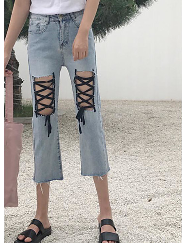 Dámské Jednoduchý Mikro elastické Džíny Kalhoty Široké nohavice Mid Rise Jednobarevné
