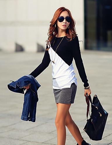 Damen Patchwork Einfach Lässig/Alltäglich T-shirt,Rundhalsausschnitt Herbst Langarm Baumwolle Mittel
