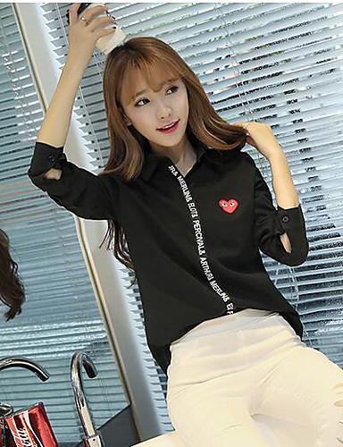 Damen Solide Buchstabe Einfach Lässig/Alltäglich Hemd,Quadratischer Ausschnitt Langarm Andere