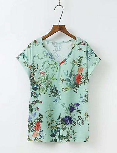 Dámské - Květinový Tričko, Síťka Bavlna Do V