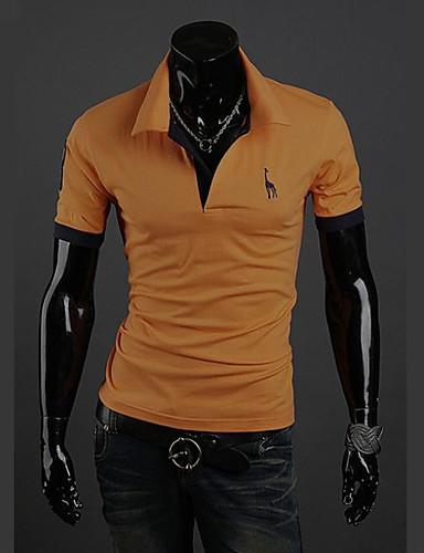 billige T-shirts og undertrøjer til herrer-Krave Tynd Herre - Ensfarvet Bomuld Aktiv Plusstørrelser Polo Grå XL / Kortærmet / Sommer