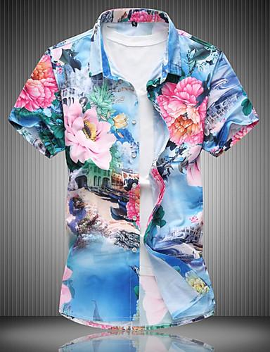 Herren Blumen Einfach Alltag Hemd,Umlegekragen Kurzarm Polyester
