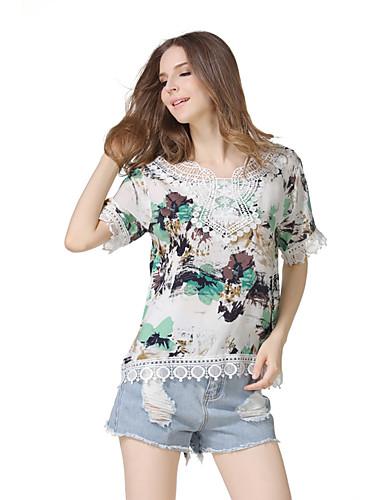 Damen Druck Retro Niedlich Street Schick Ausgehen Lässig/Alltäglich Festtage T-shirt,Rundhalsausschnitt Kurzarm Polyester