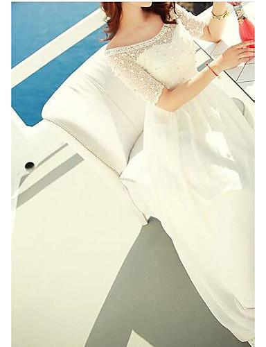 Damen Hülle Kleid-Lässig/Alltäglich Einfach Solide Druck Rundhalsausschnitt Maxi Kurzarm Andere Sommer Hohe Hüfthöhe Mikro-elastisch Dünn