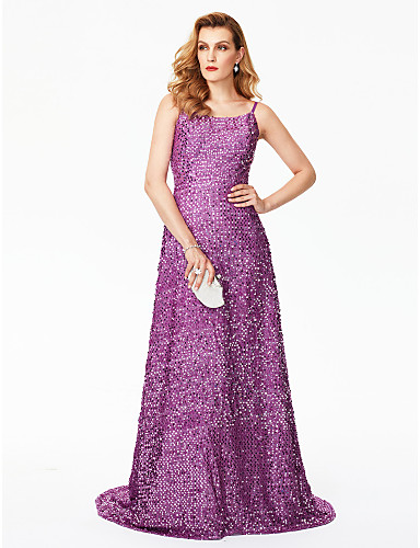 Sheath / Column Spaghetti Strap Sweep / Brush Train Sequined Sparkle & Shine / Celebrity Style Cocktail Party / Prom / Formal Evening Dress with Sequin by TS Couture®