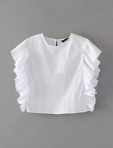 Dámské Jednobarevné Jednoduchý Sexy Šik ven Tričko-Léto Bavlna Kulatý Krátký rukáv Tenké Střední