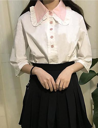 Damen Solide Patchwork-Niedlich Freizeit Hemd,Hemdkragen