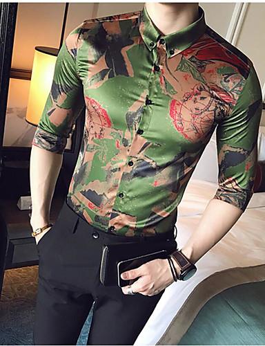 Pánské - Vícebarevný Větší velikosti Košile, Tisk Hedvábí Límeček s knoflíkem