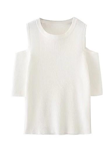 Damen Solide Einfach Sexy Street Schick T-shirt,Rundhalsausschnitt Sommer Kurzarm Baumwolle Dünn Mittel