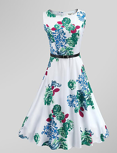 Damen Retro Street Schick Swing Kleid Blumen Knielang