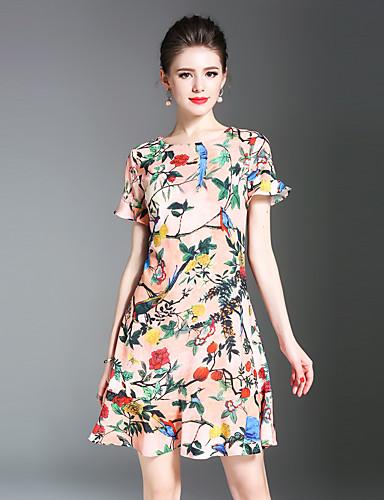 Mulheres Evasê Vestido - Estilo vintage Retro Estampado, Retalhos
