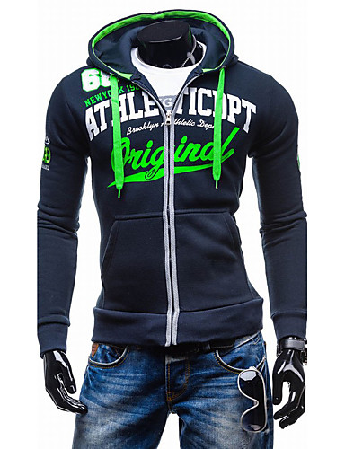 cheap Men's Slogan & Letter Print Hoodies-Men's Sports Active Long Sleeve Hoodie Jacket - Letter Hooded Navy Blue L / Spring / Fall / Winter