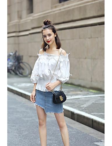 Damen Solide Sexy Einfach Lässig/Alltäglich T-shirt,Bateau ¾-Arm Baumwolle