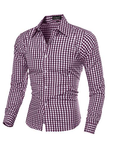 voordelige Herenoverhemden-Heren Print Overhemd Ruitjes Klassieke boord Slank Marineblauw / Lange mouw