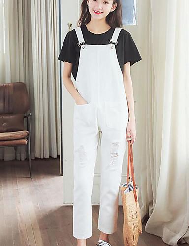Dámské Jednoduchý Není elastické Volné Kalhoty Volný Mid Rise Jednobarevné