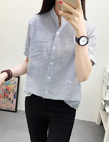 Damen Gestreift Einfach Ausgehen Party/Cocktail Hemd,Ständer Kurzarm Baumwolle