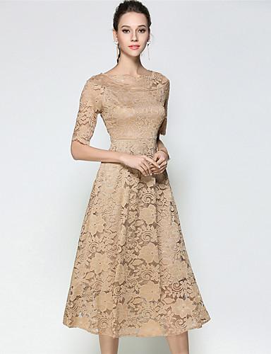 Damen Hülle Spitze Kleid - Spitze, Solide Bateau Hohe Hüfthöhe