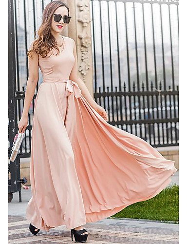 Damen Swing Kleid-Strand Solide V-Ausschnitt Maxi Ärmellos Andere Sommer Mittlere Hüfthöhe Mikro-elastisch Dünn