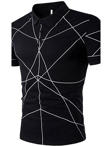 Pánské - Geometrický Na běžné nošení Tričko Bavlna Košilový límec / Vyberte si velikost o jednu větší naž je Vaše běžná velikost.