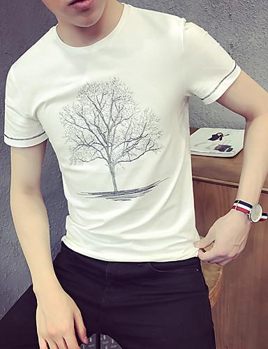 Homens Camiseta Casual Activo Estampado Algodão Decote Redondo