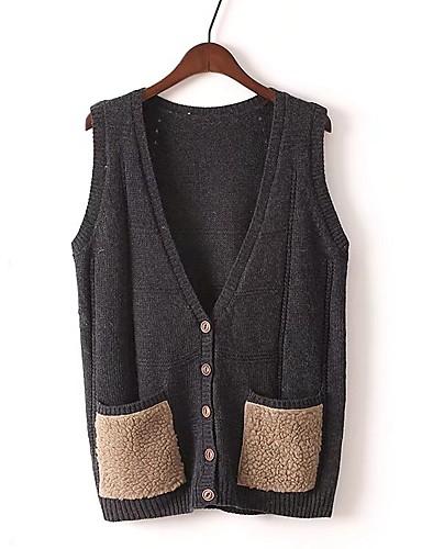 Damen Standard Weste-Ausgehen Lässig/Alltäglich Einfach Einfarbig V-Ausschnitt Ärmellos Baumwolle Frühling Herbst Dünn Mittel