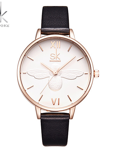 SK Women's Quartz Wrist Watch Chinese Large Dial Shock Resistant Rose Gold Plated Band Luxury Casual Butterfly Fashion Black