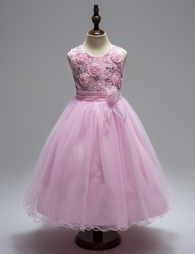 Ball Gown Knee Length Flower Girl Dress - Organza Sleeveless Jewel Neck with Sequin / Ruched / Zipper by