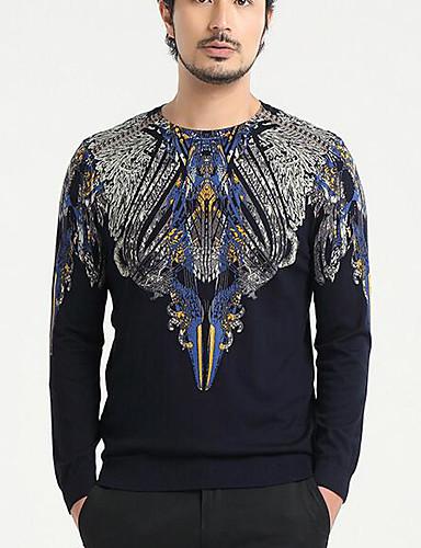 Men's Casual Regular Pullover,Print Round Neck Long Sleeve 58%Wool42%Viscose Fall Thin Micro-elastic