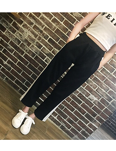 Women's Casual Straight Relaxed Pants - Lines / Waves