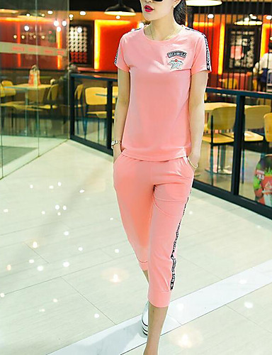 Women's Daily Casual Summer T-shirt Pant Suits,Solid Round Neck Short Sleeve Cotton Micro-elastic