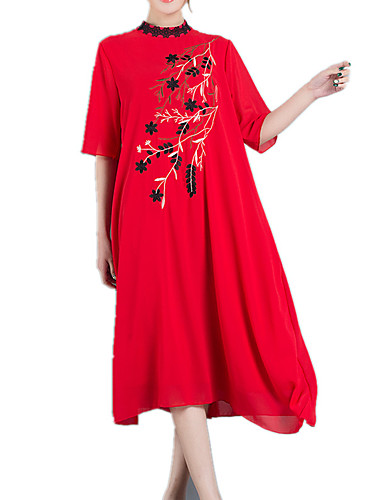 Women's Daily Vintage Chinoiserie Sophisticated Loose Dress,Print Round Neck Midi 3/4 Length Sleeves Others Spring Summer Mid Rise