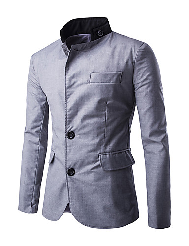 Men's Daily Street chic Winter Regular Blazer, Color Block Stand Polyester