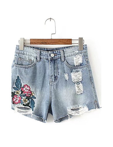 Women's Mid Rise Micro-elastic Shorts Jeans Pants,Street chic Loose Embroidered Ripped Embroidered