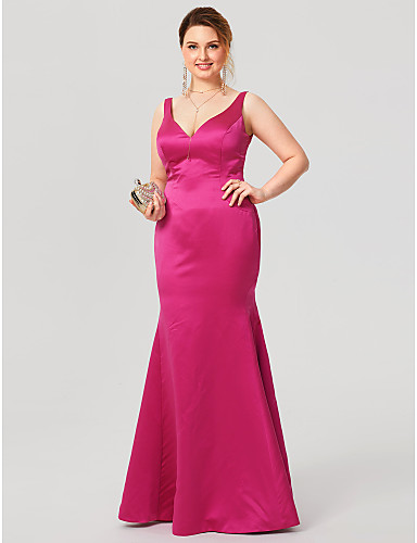 Mermaid / Trumpet V-neck Floor Length Satin Plus Size Formal Evening Dress with Pleats by TS Couture®