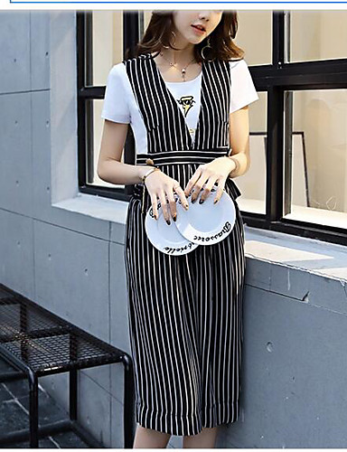 Women's Business Daily Soak Off Summer Blouse Pant Suits,Striped Round Neck Short Sleeve Formal Style