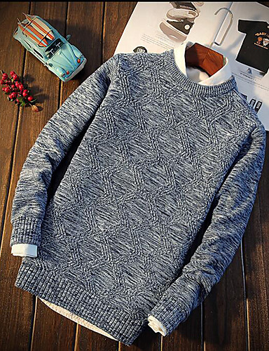 Men's Daily Casual Regular Pullover,Solid Round Neck Long Sleeves Cotton Knitwear Spring Fall Medium Micro-elastic