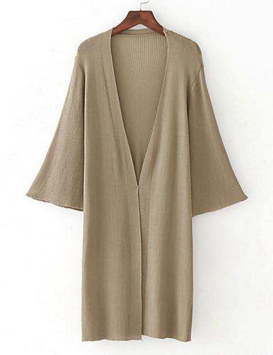 Women's Daily Long Cardigan,Solid V Neck 3/4 Length Sleeves Cotton Fall Thin Medium Micro-elastic
