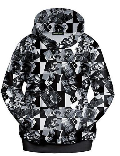 Hattetrøje Dame Fritid/hverdag Enkel Trykt mønster Polyester Uelastisk Langermet Høst