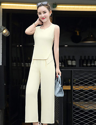 Women's Daily Contemporary Solid Round Neck Pant Sleeveless Summer