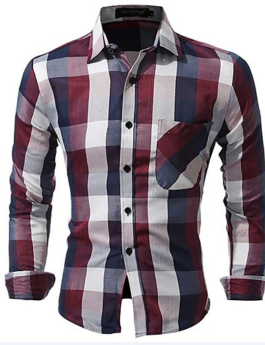 Men's Party Street chic Cotton Slim Shirt - Plaid / Check / Name Brand Style / Fashion Classic / Stylish / Printing / Long Sleeve