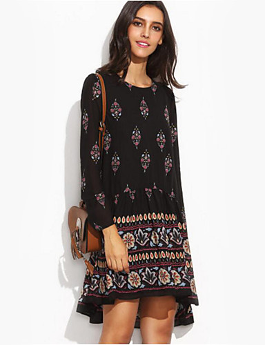 Women's Daily Holiday Going out Vintage Sexy Boho Loose Sheath Dress,Print Round Neck Asymmetrical Long Sleeves Polyester Spring Fall