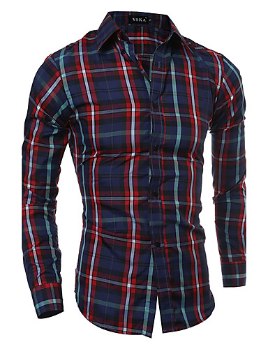 Men's Street chic Shirt - Plaid Classic Collar