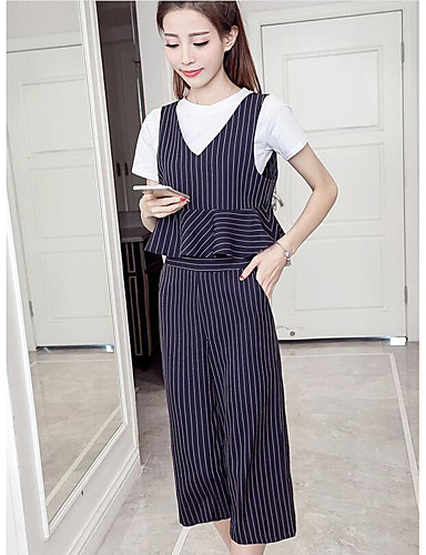 Women's Other Casual Other Casual Spring Summer Tank Top Pant Suits,Striped Round Neck Short Sleeve Cotton/nylon with a hint of stretch