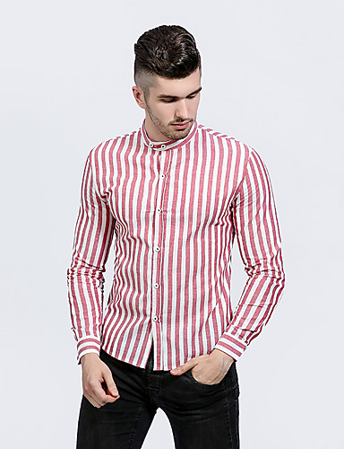 Men's Daily Work Casual Spring Fall Shirt,Striped Standing Collar Long Sleeves Cotton Polyester Medium