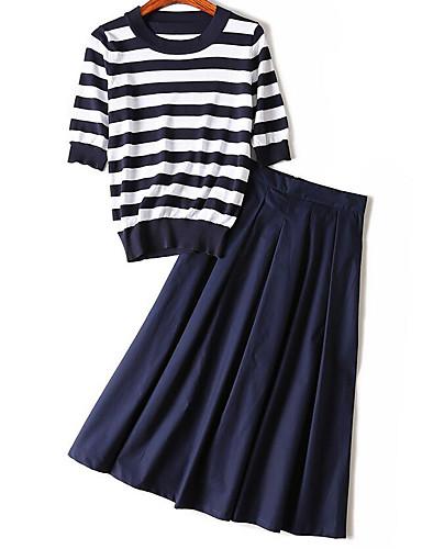 Women's Casual/Daily Simple Striped Shirt Collar Skirt ¾ Sleeve Summer Cotton