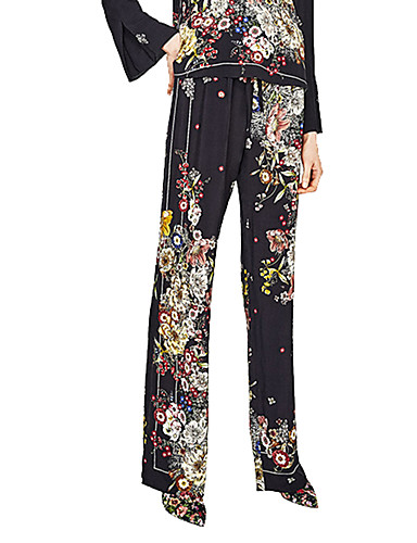 Women's High Rise Micro-elastic Slim Chinos Pants,Vintage Street chic Floral All Seasons