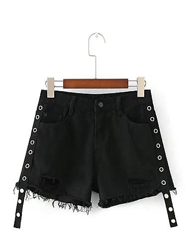 Women's High Rise Micro-elastic Jeans Shorts Pants,Street chic Loose Straight Tassel Solid