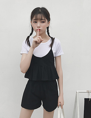 Women's Going out Vintage Summer T-shirt Pant Suits,Solid Round Neck Short Sleeve Cashmere