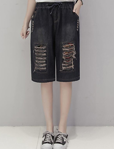 Women's Mid Rise Micro-elastic Jeans Shorts Pants,Simple Straight Color Block