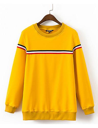 Women's Daily Sweatshirt Striped Round Neck Micro-elastic Cotton Long Sleeve Fall